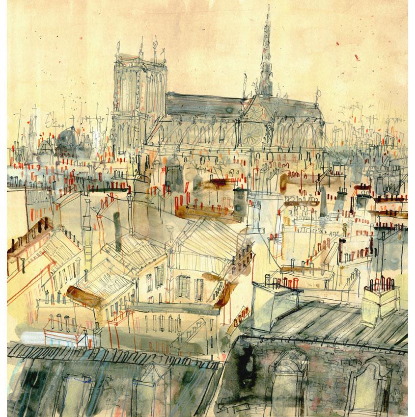 'Notre Dame & Paris Rooftops Paris'  Giclee print Image size 32 x 33 cm Edition size 195 £145