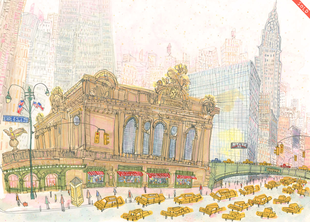 Grand Central Station, East 42nd Street     NYC   watercolour & pencil    Image size 42.5 x 30.5 cm