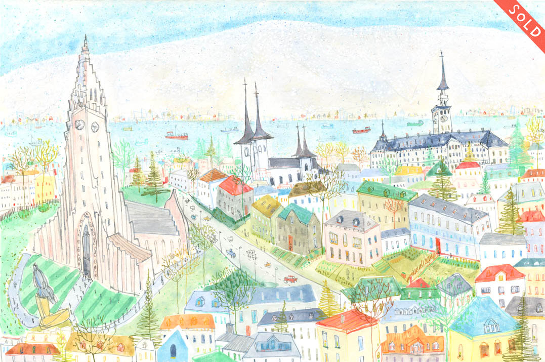 'Reykjavik Cathedral'     WATERCOLOUR & PENCIL     Image size 44 x 29 cm     Framed size 62 x 47 cm    £450