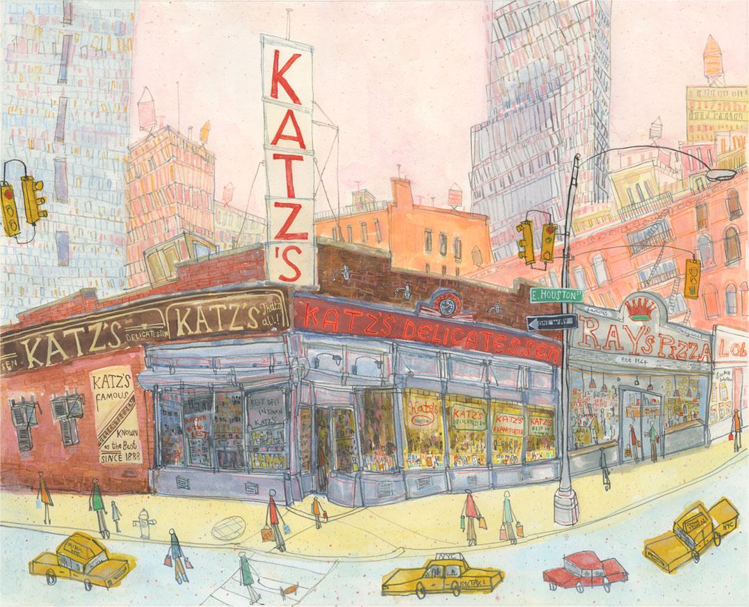 Katz's Delicatessen, New York   watercolour & pencil  46 x 37 cm
