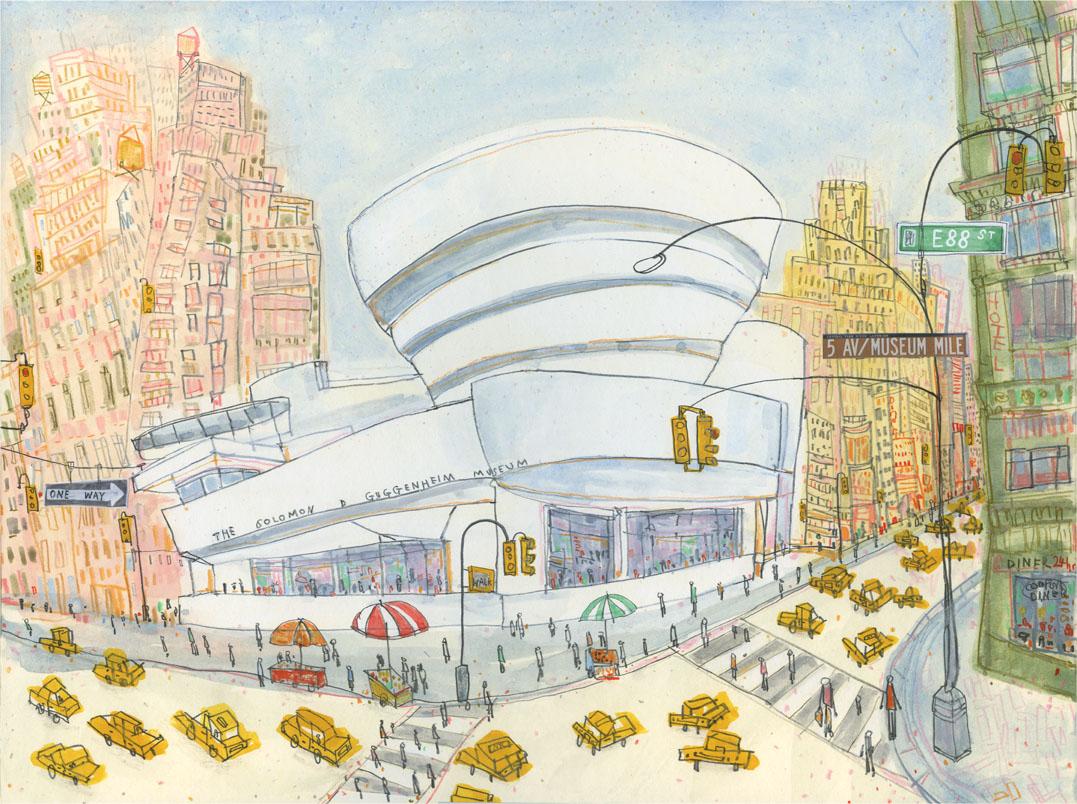 The Guggenheim, New York   watercolour & pencil  Image size 38 x 28 cm