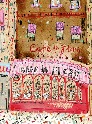 Pink Café De Flore Paris