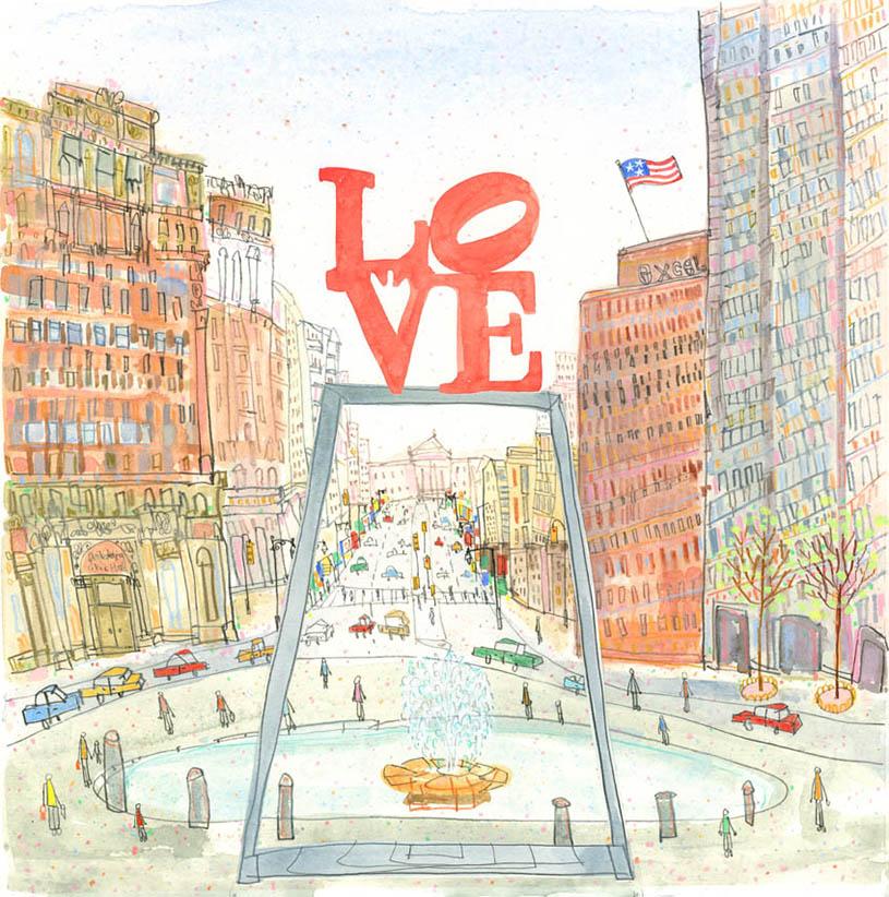 'LOVE Park Philadelphia'  Giclee print 32 x 32 cm Edition size 195  £145
