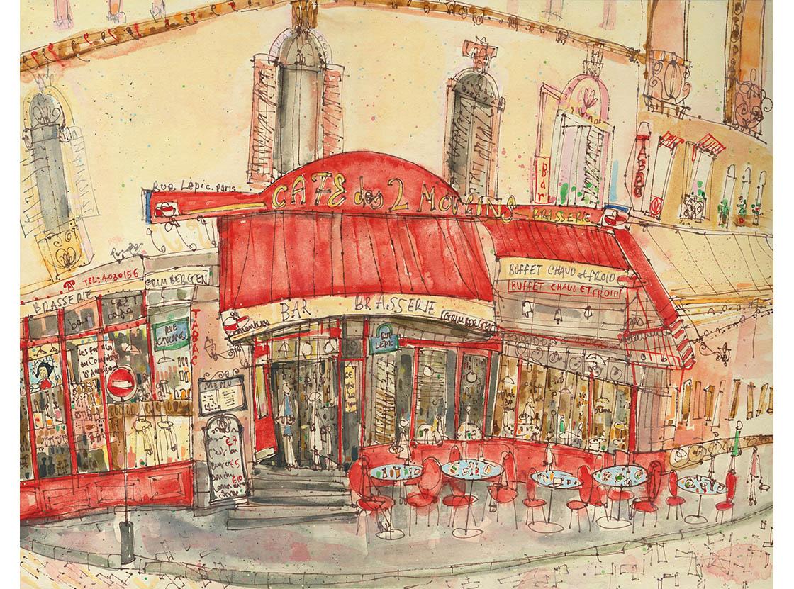 'Cafe Des Deux Moulins Paris'  Giclee print  39 x 30.5 cm Edition size 195  £145