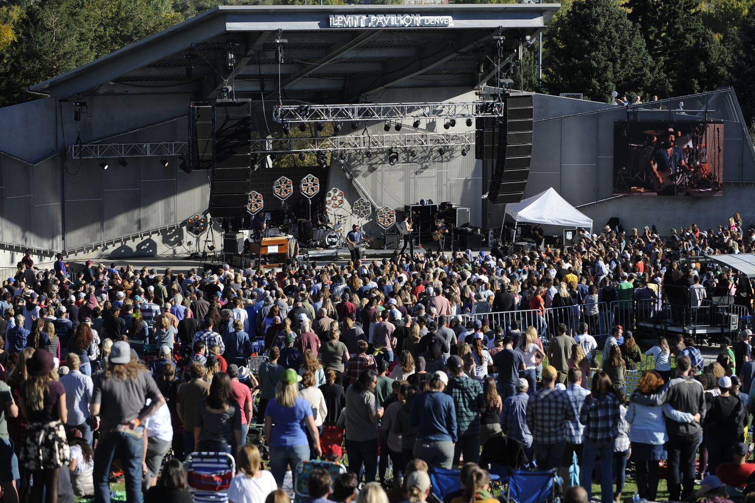 Nathaniel Rateliff & The Night Sweats, along with Rateliff's foundation, The Marigold Project, host a day of events to support the prevention of gun violence including a concert at the Levitt Pavilion October 13, 2018 in Denver. (Kathryn Scott, Special to The Denver Post)