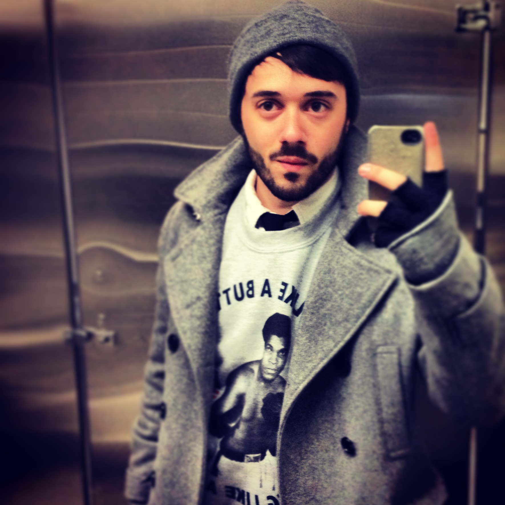 """House of Nod Creative Director taking a colloquial""""selfie"""" in a public men's room after wrapping a long production."""
