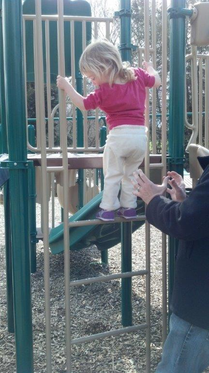 My family at the park, both child and parent gaining confidence with each step.