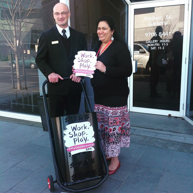Mayor Sean from City of Greater of Dandenong and Neera from Images in Dandenong with the Work. Shop. Play Cart which has been locally designed and manufactured.