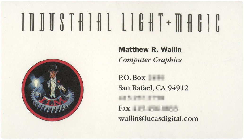My old ILM business card.