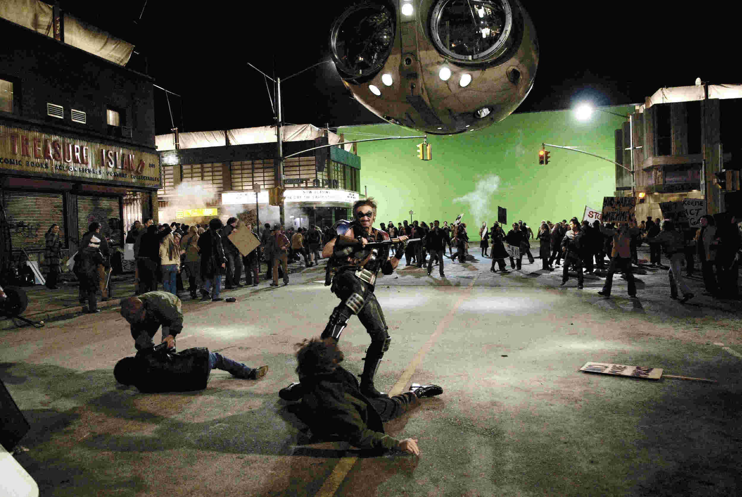 On set for The Watchmen.