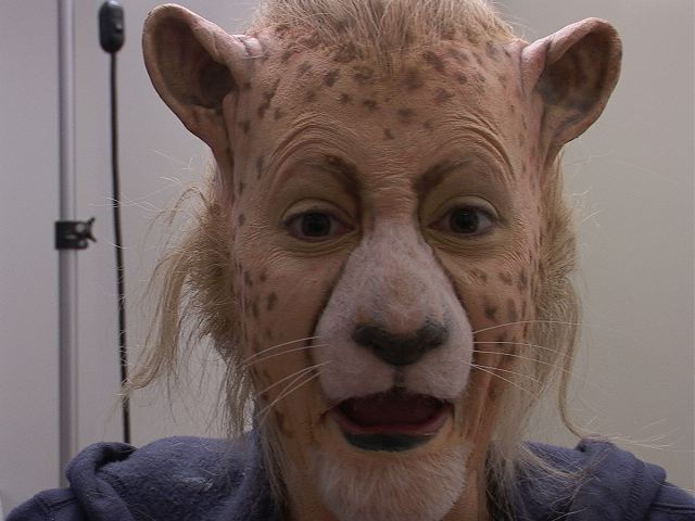 Aimee Mullins as the cheetah for Cremaster 3. Make up by Gabe Bartalos of Atlantic West Effects.