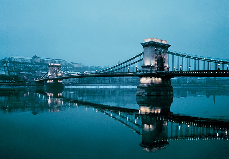 Location shoot for Cremaster 5. The Lanchid Chain Bridge crossing the Danube in Budapest.