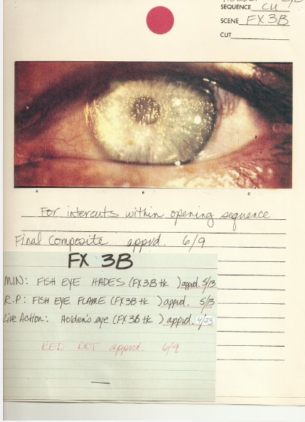 The VFX board for the original film's opening shot.