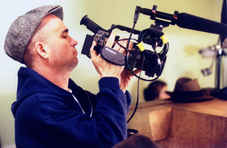 Shooting Cremaster 3 footage on the dental office set. Sunset Park, 2001.