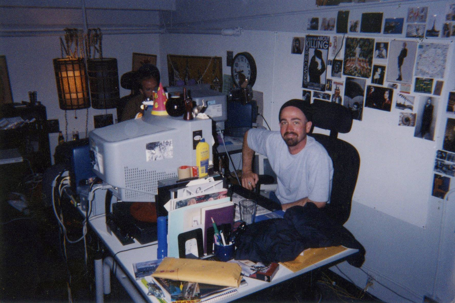 At my desk on the 2nd Floor of D-Building. Industrial Light & Magic circa 1998.