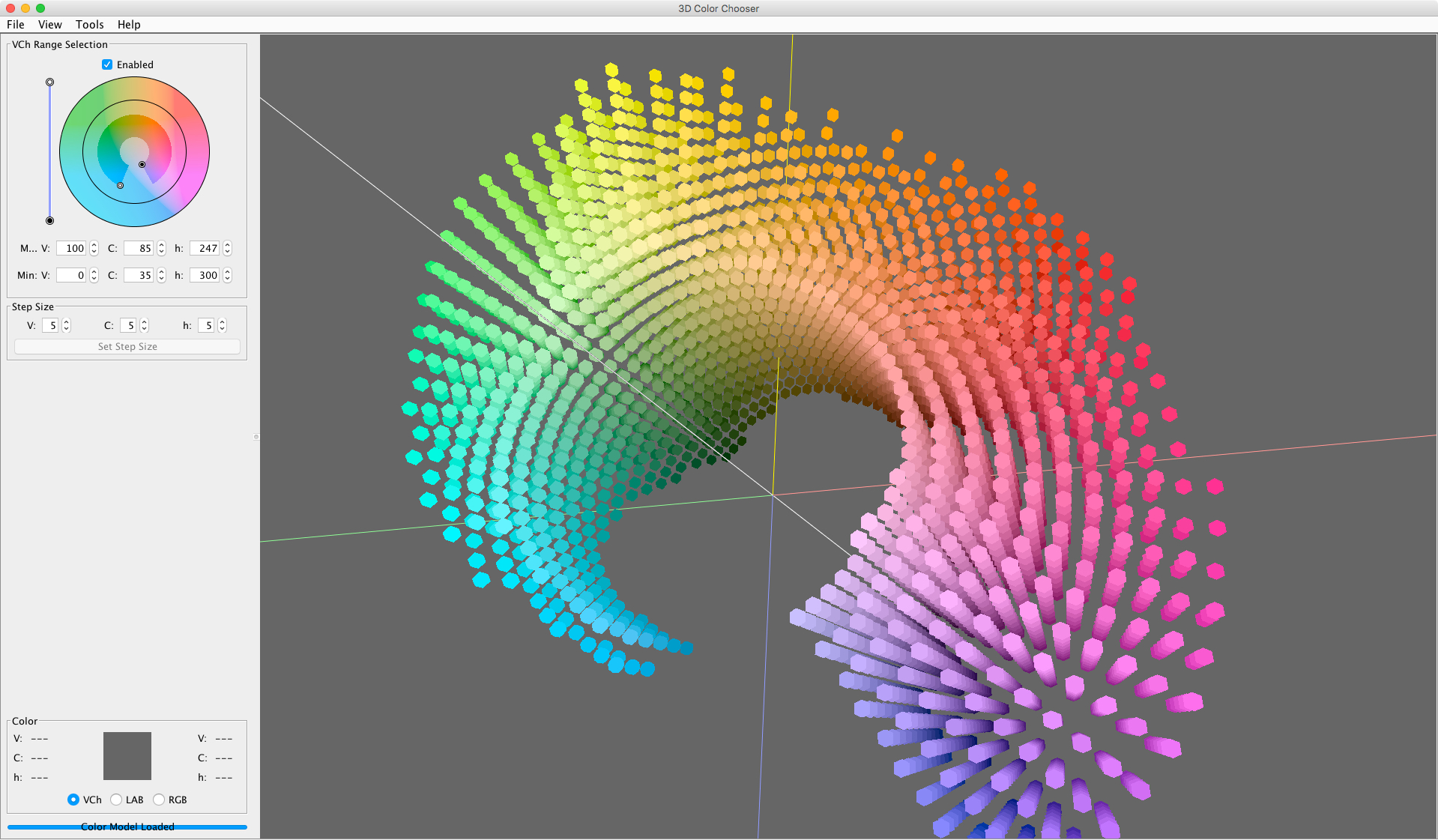 My Mapping Color software GUI, used in the analysis, quantification, modeling, and manipulation of color in images, image sequences, and data sets.