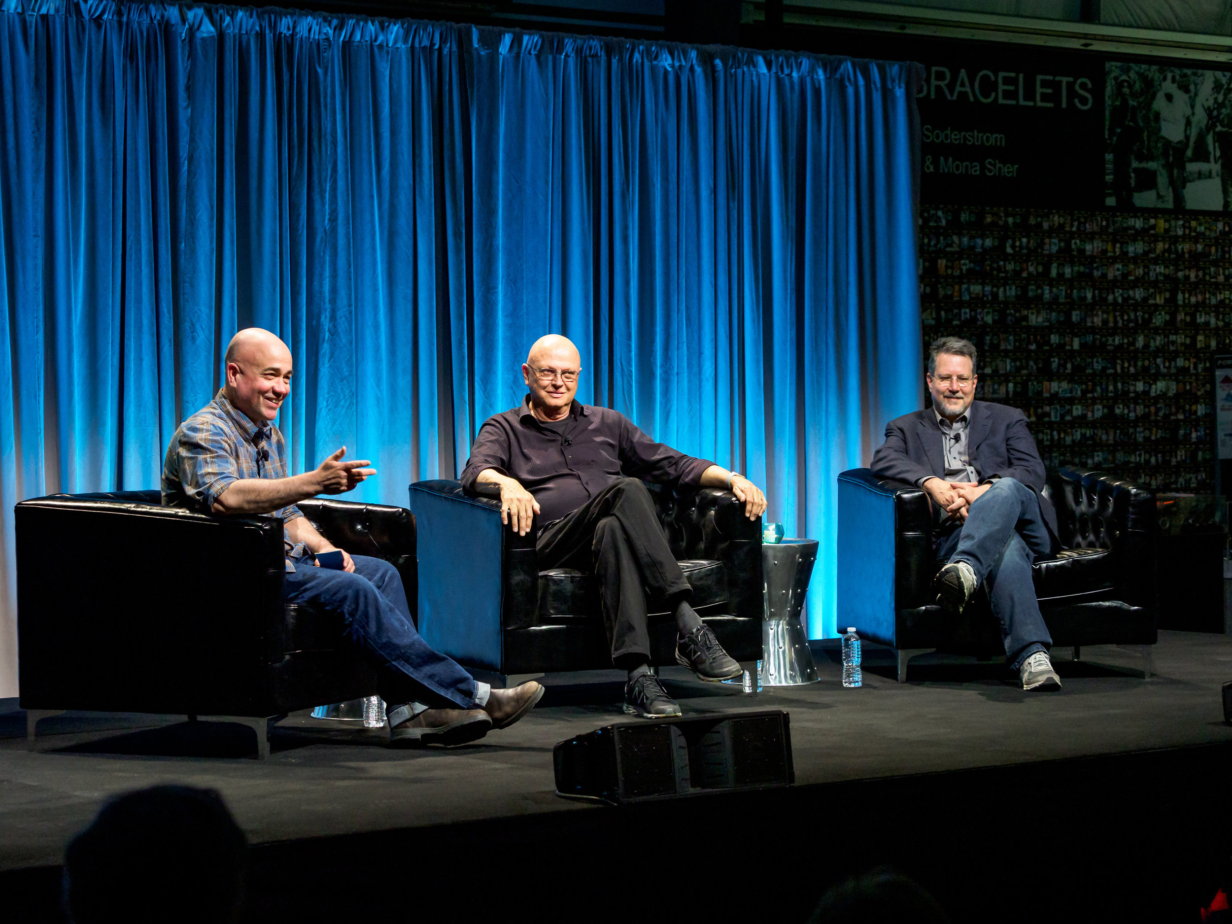 Chatting on stage with Dennis Muren and John Knoll at MARS 2019, Palm Springs, California.