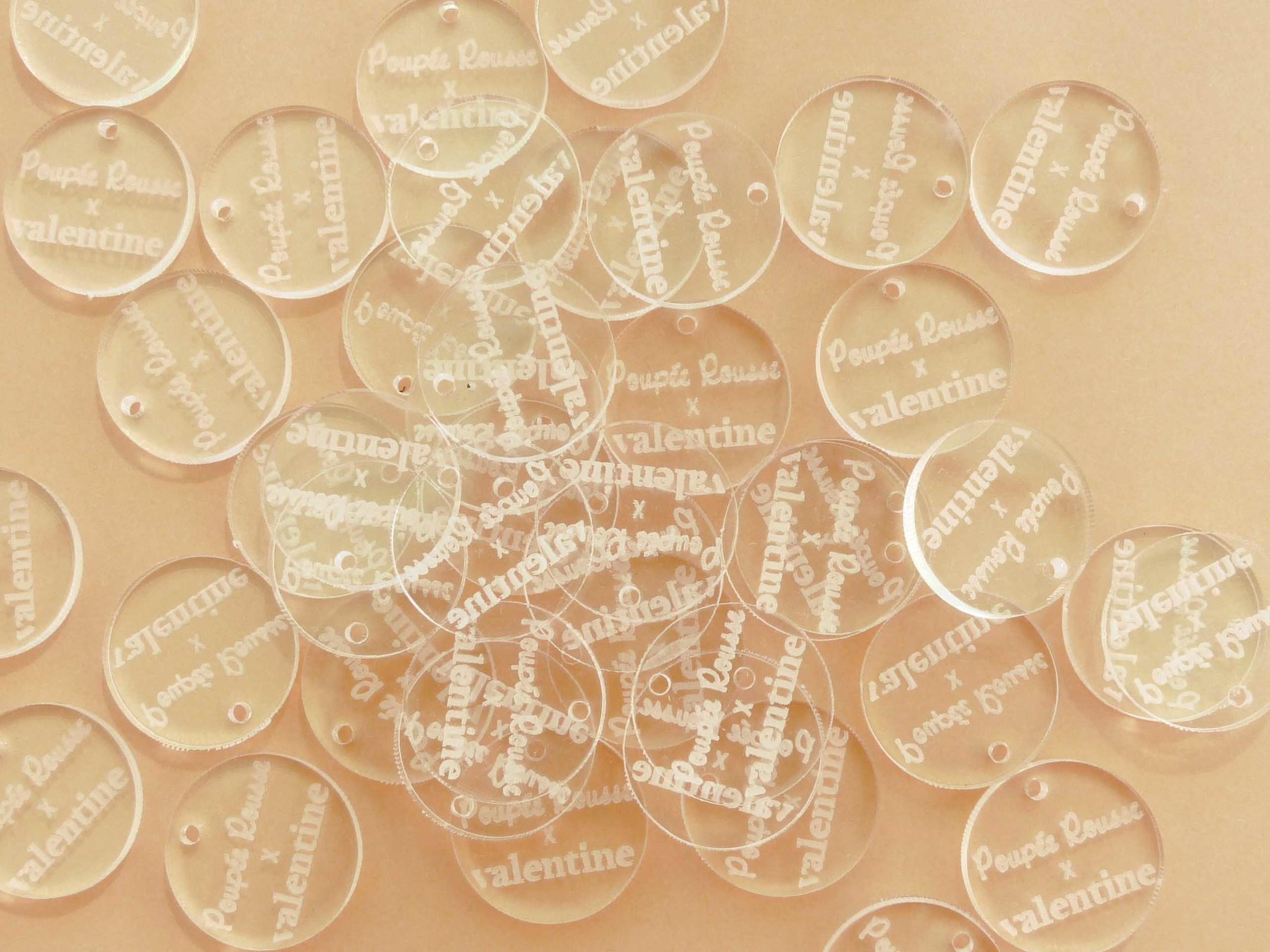 Pampilles rondes en plexi transparent incolore