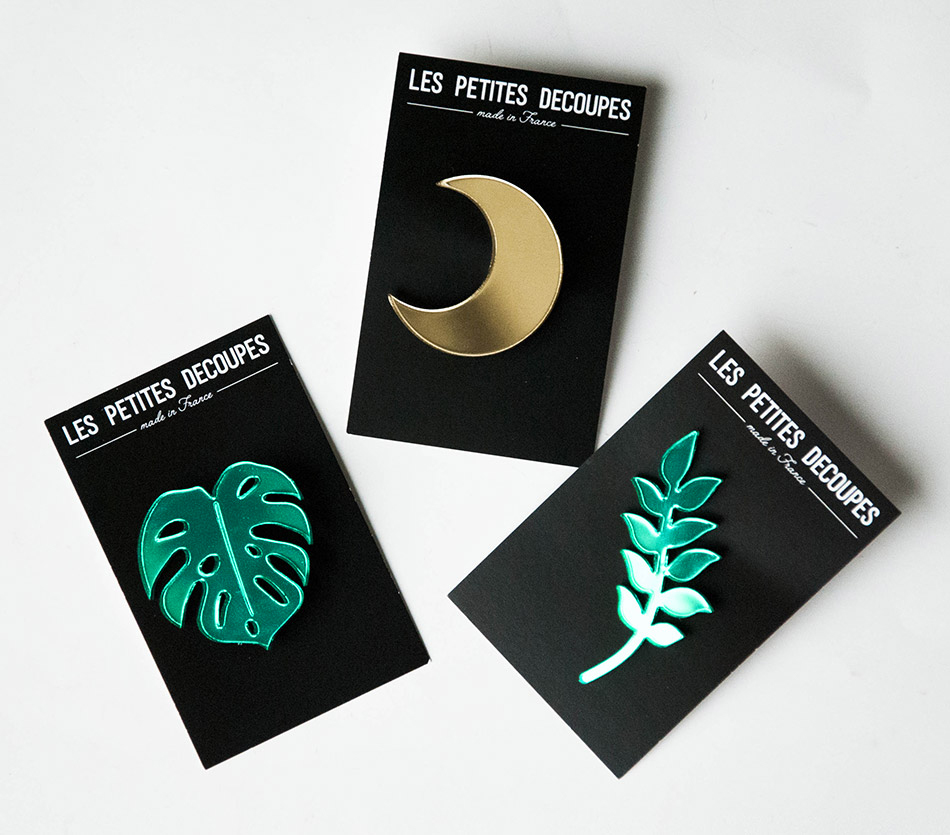 "broche brooch - plexiglas plexi doré or - lune moon feuille végétaux monstera - ""made in france"" fabriqué en France"