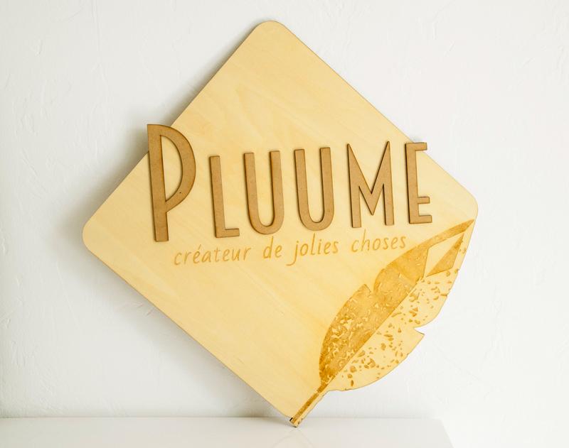 plaque - pancarte -panneau - logo - bois - découpé - gravé - sur-mesure