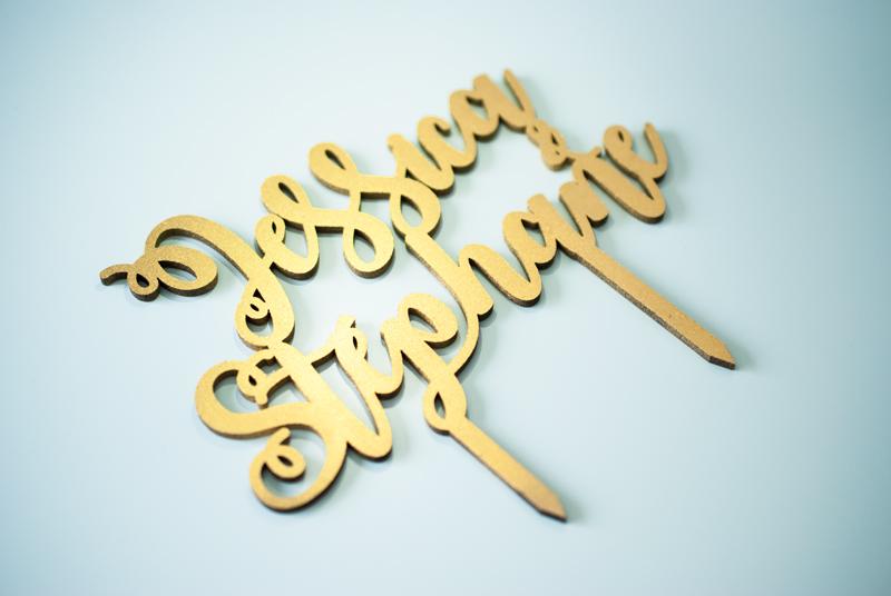Caketopper sur-mesure bois doré