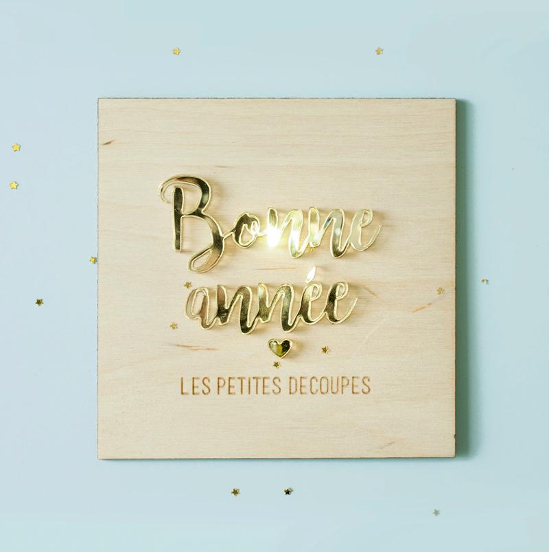 plaque bois et plexiglas doré