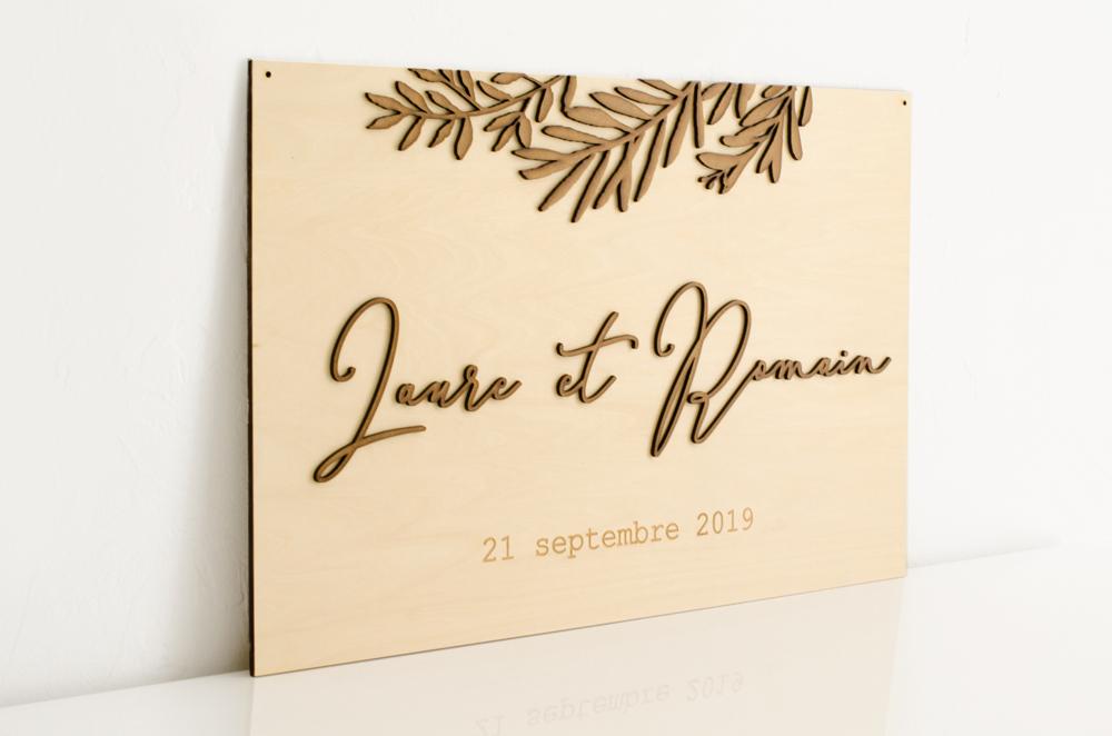 Plaque mariage prénoms en bois