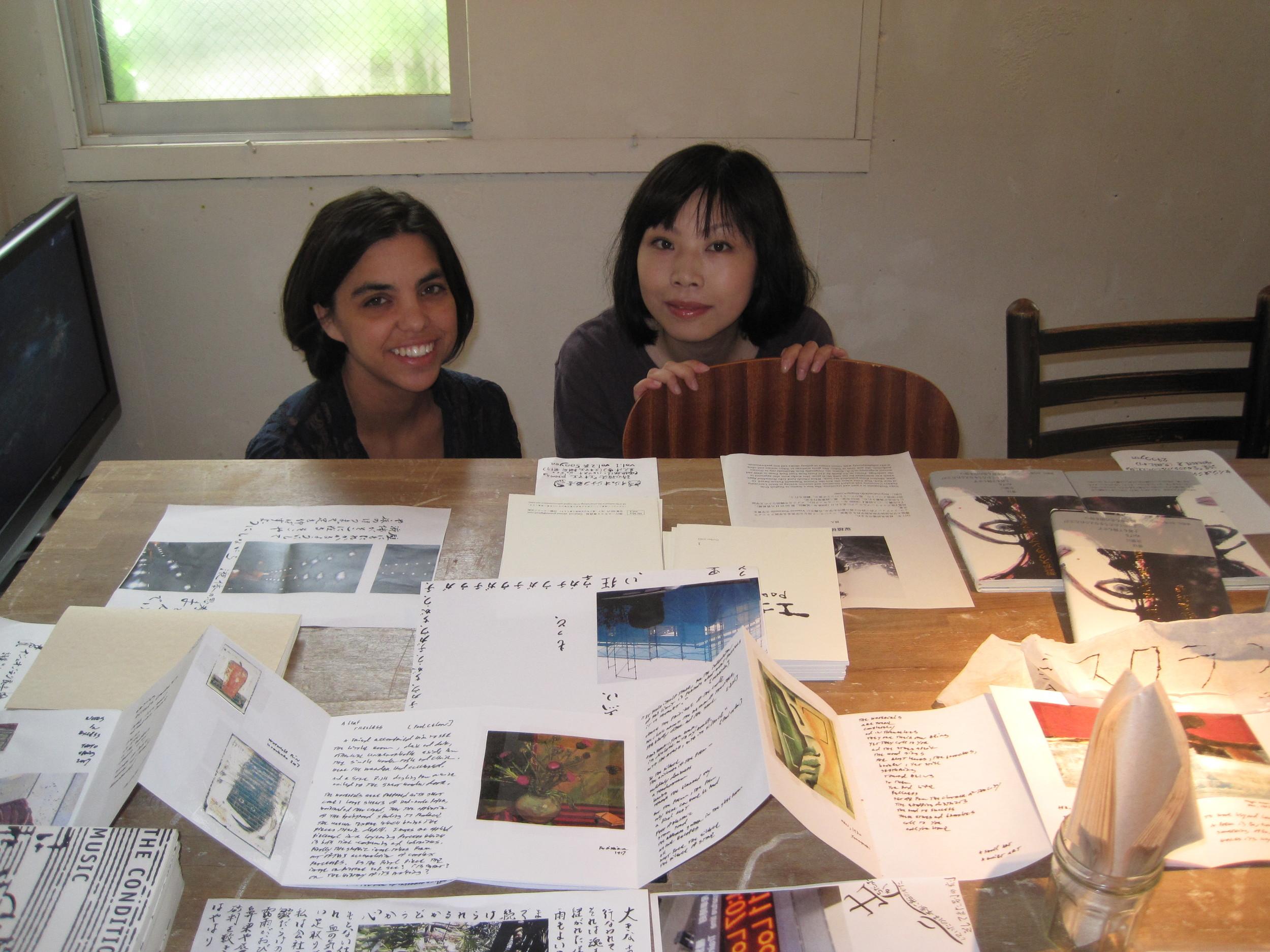 Yuka Tsukagoshi and Judy Halebsky at Kichijoji Gallery show in Tokyo