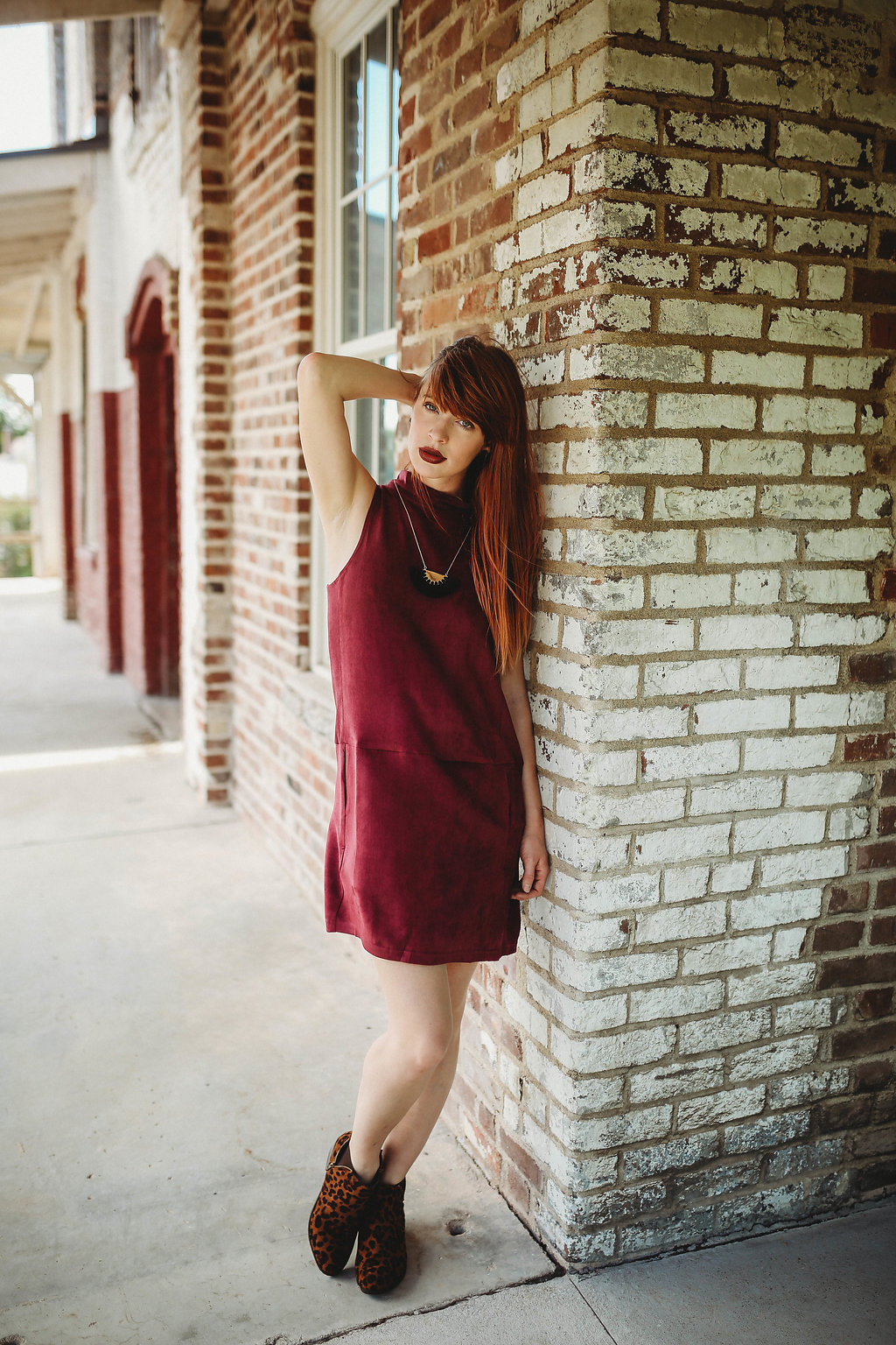 Baughman's Mill  is a beautiful building downtown.  A local family has taken the time to begin restoring the building, so it's an awesome spot to snap a cute photo.    Get the look at Morgan's on Main:  Wine Shift Dress with Mock Neck ($34.99) | Cheetah Booties ($36)  Morgan Ships! shop her  Facebook  and  IG