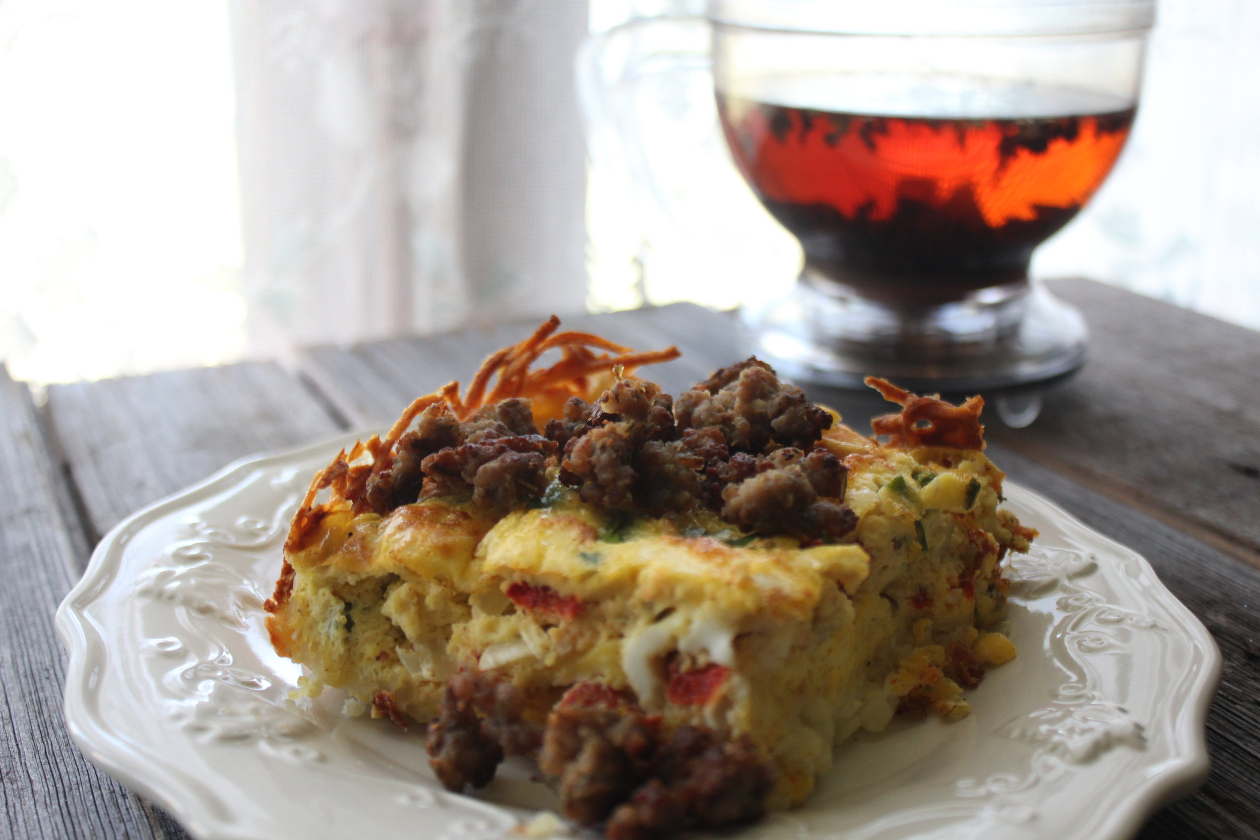 Quiche with a hash brown crust featuring Ky Darling sausage
