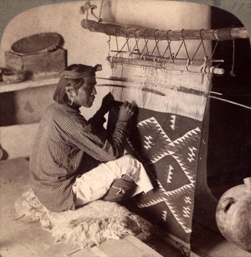 hopi native weaving a blanket ~