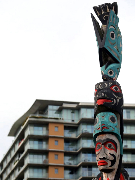 totem poles found at dockside green, victoria ~