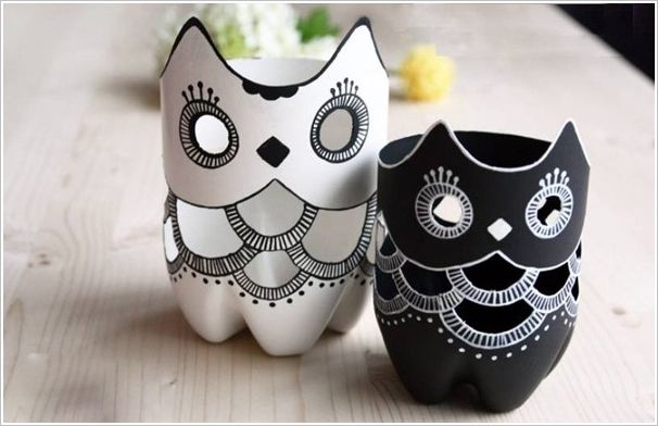 http://www.amazinginteriordesign.com/diy-plastic-bottle-owl-vases/