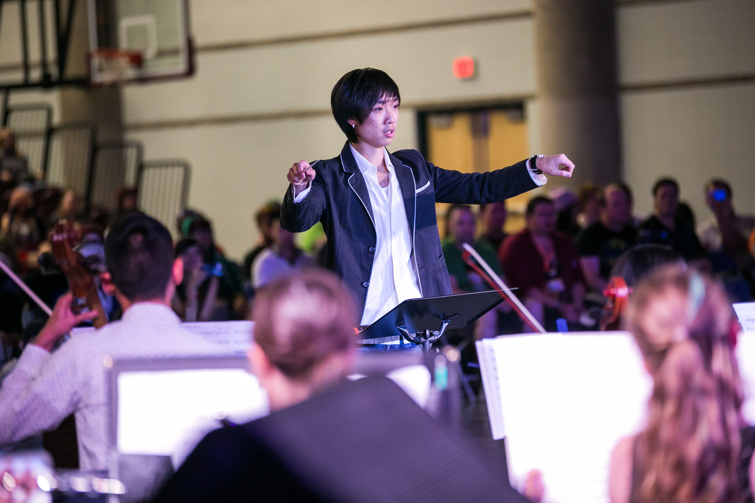 Shawn conducting Orbis Orchestra during its first year in 2015