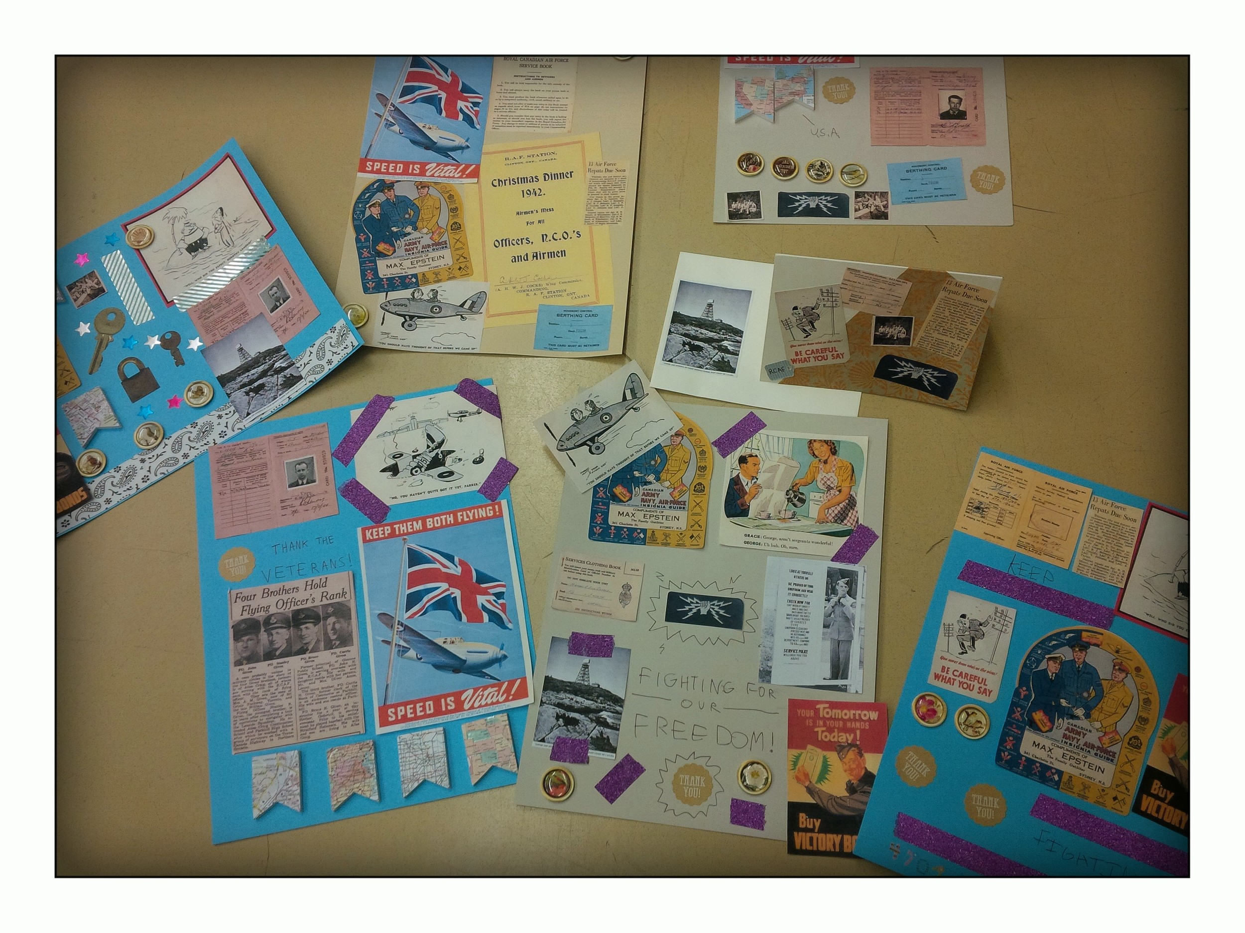 Examples of scrapbooking/collage done by both children and adults at our events.