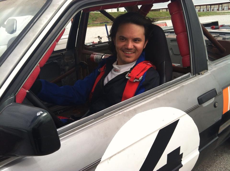 Rev. Grant Palma in race car.