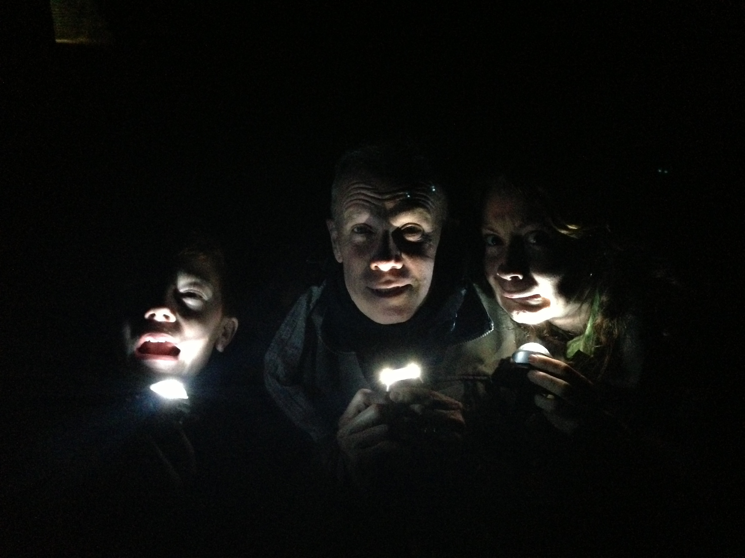 Liam, Stewart and Caroline experiencing a Blair Witch Project moment along the Great Ocean Road.