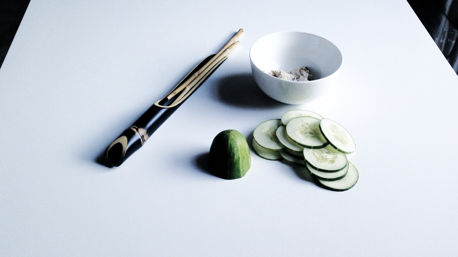 Mini Meal in the Making: Cucumber Salad with Steamed Fish for breakfast