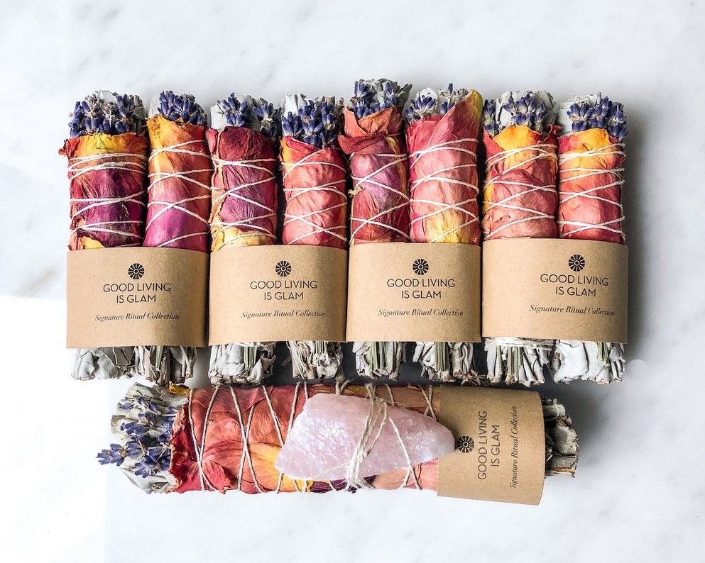 sage smudge stick with rose and lavender