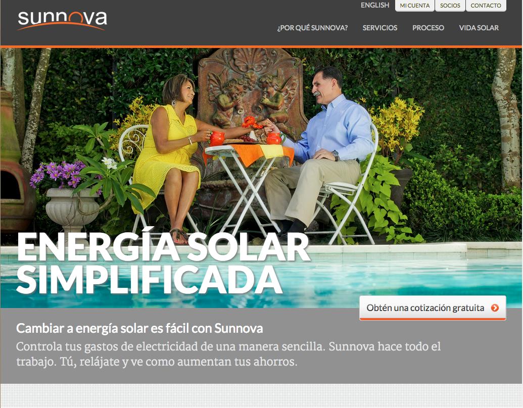 Spanish Translation and Adaptation Services. Sunnova website & SEO strategy,