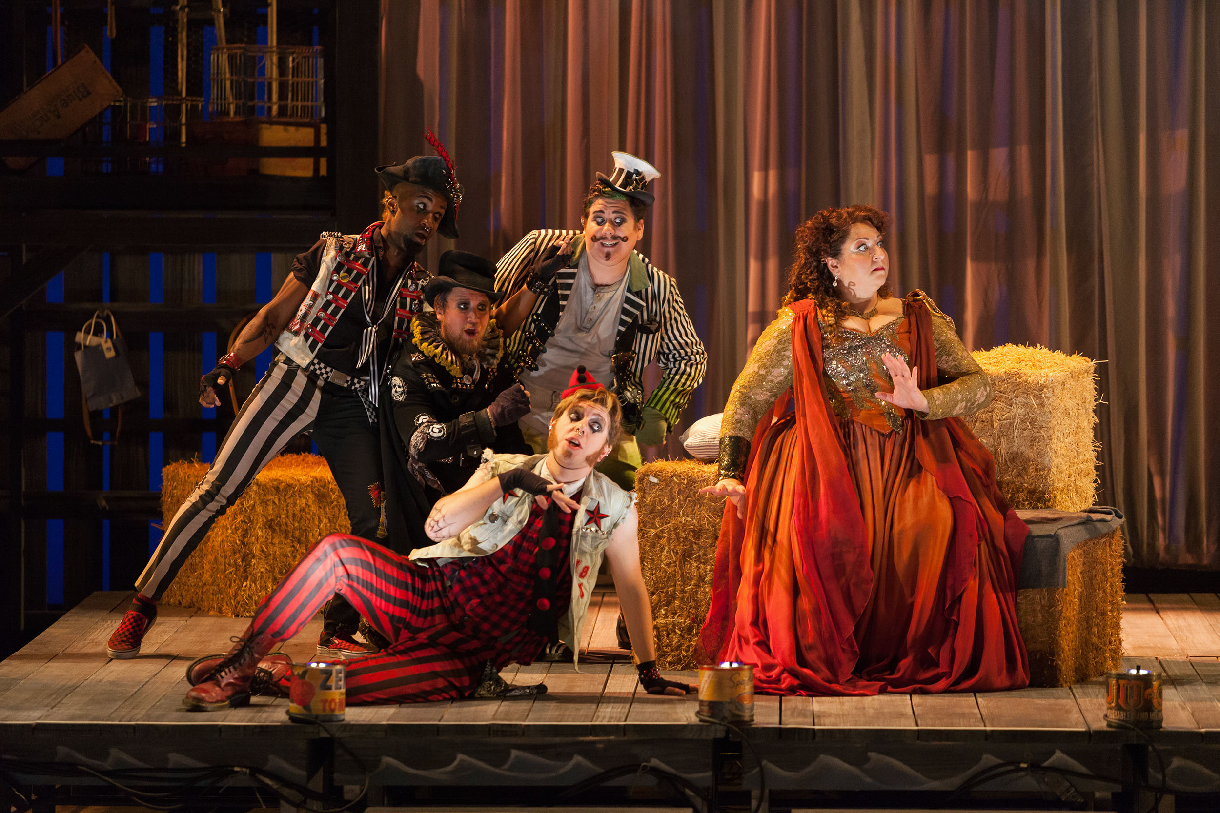 Clockwise from top: Brian Ross Yeakley as Brighella, Christine Goerke as Ariadne, Gerard Michael D'Emilio as Truffaldino, Andrew Penning as Scaramuccio and Carlton Ford as Harlequin in The Glimmerglass Festival's 2014 production of Strauss'  Ariadne in Naxos .