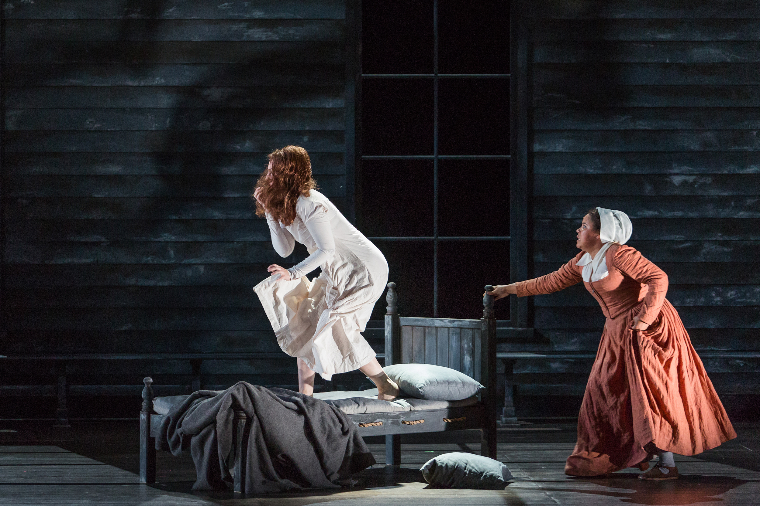 Mary Beth Nelson as Betty Parris and Ariana Wehr as Abigail Williams in The Glimmerglass Festival's production of Robert Ward's  The Crucible .