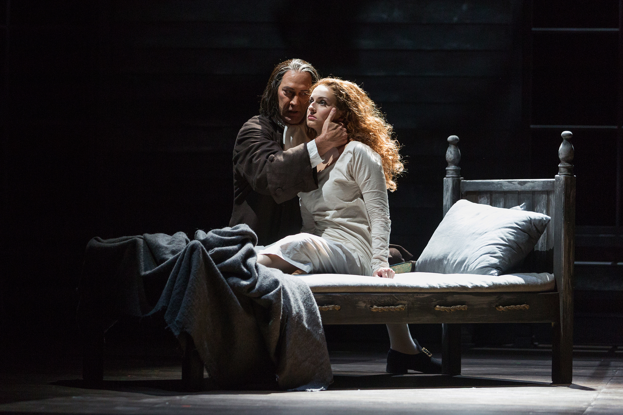 David Pittsinger as Reverend John Hale and Mary Beth Nelson as Betty Parris in The Glimmerglass Festival's production of Robert Ward's  The Crucible .
