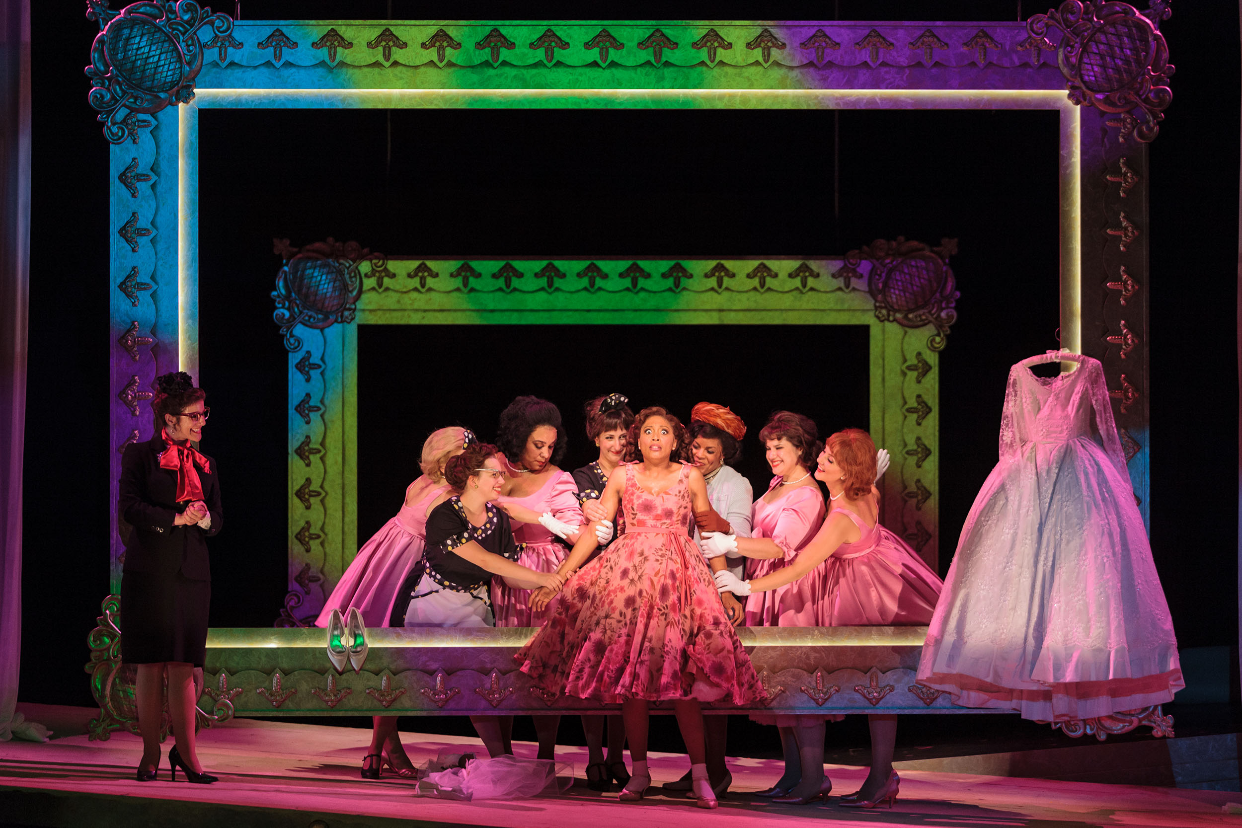 Jacqueline Echols as Giulietta with members of the ensemble in The Glimmerglass Festival's 2013 production of Verdi's  King for a Day .