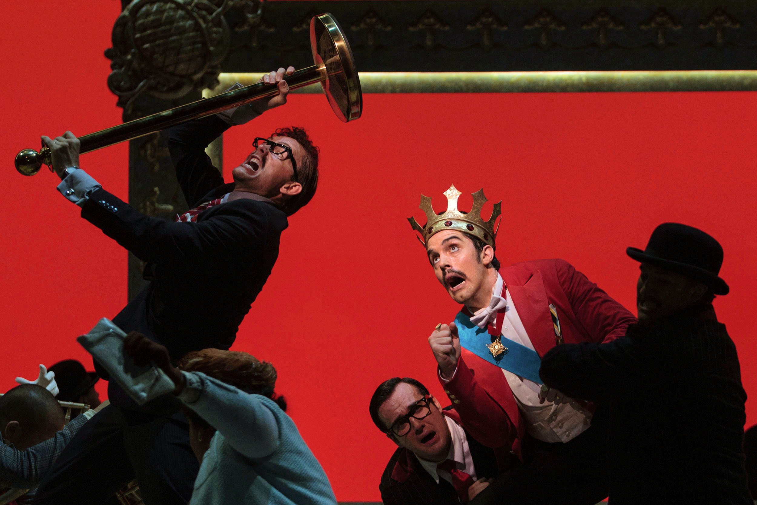 Jason Hardy as Baron Kelbar, Patrick O'Halloran as Edoardo and Alex Lawrence as Belfiore in The Glimmerglass Festival's 2013 production of Verdi's  King for a Day .