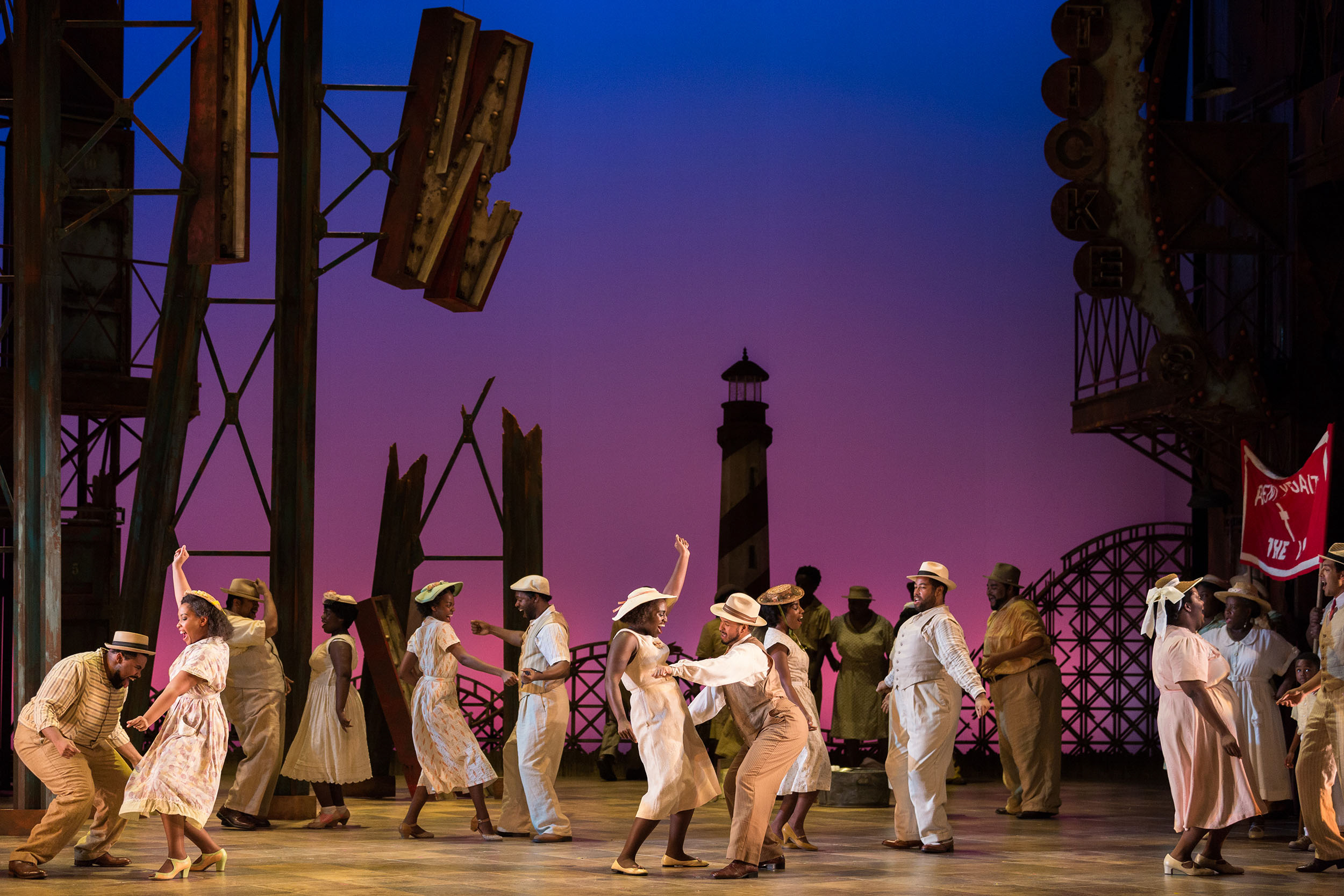 The ensemble in The Glimmerglass Festival's 2017 production of The Gershwins'  Porgy and Bess .