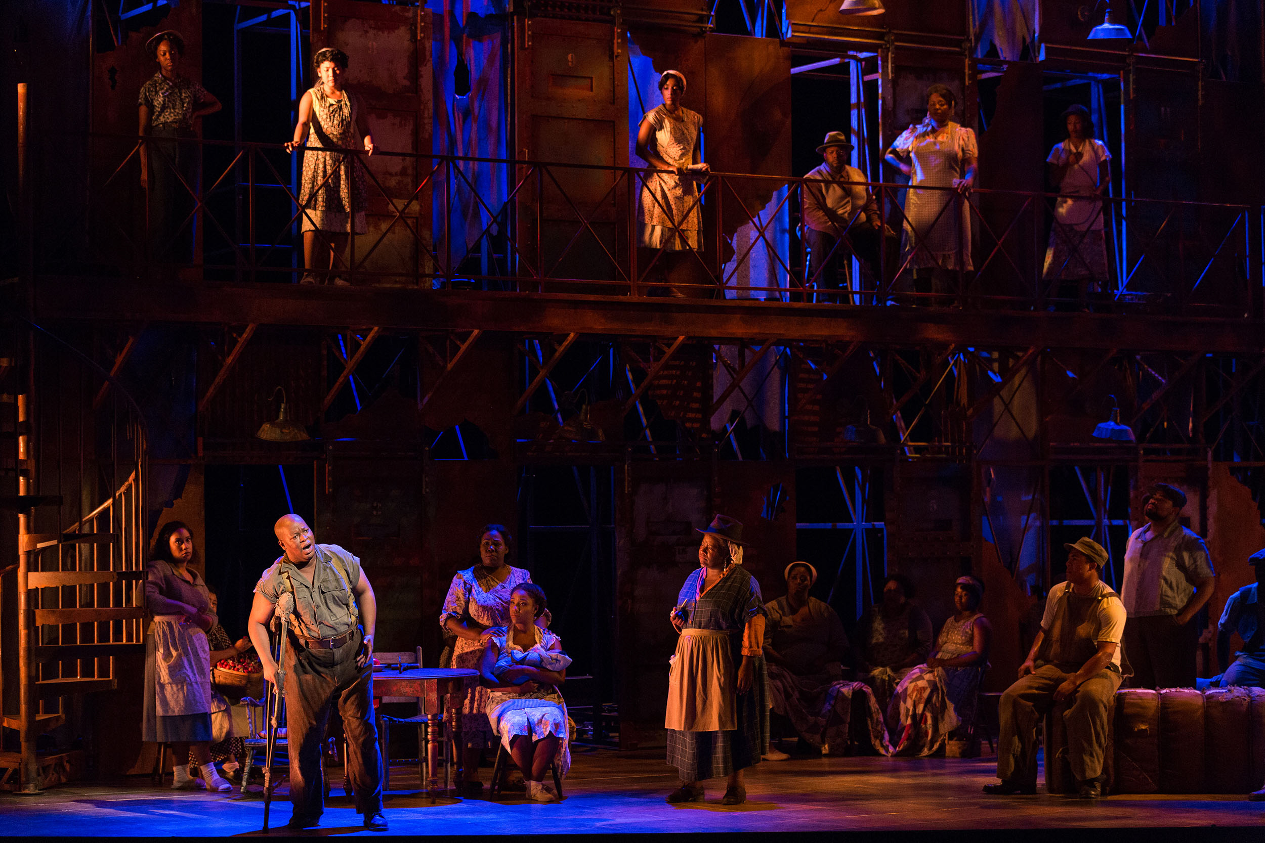 Musa Ngqungwana as Porgy (left) in The Glimmerglass Festival's 2017 production of The Gershwins'  Porgy and Bess .