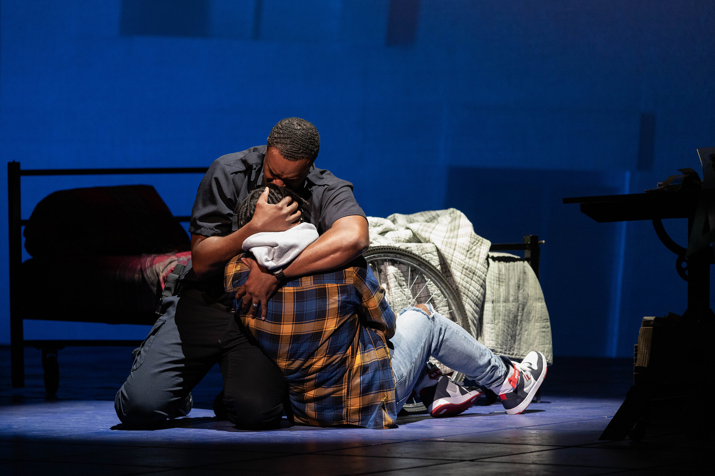 """Kenneth Kellogg as The Father and Aaron Crouch as The Son in The Glimmerglass Festival's 2019 world premiere of Jeanine Tesori and Tazewell Thompson's """"Blue."""""""
