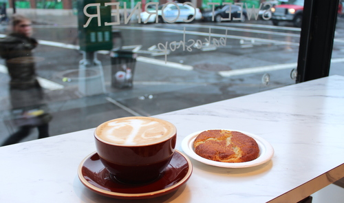 The perfect view to people-watch while having a great coffee and treats at Sweet Corner!