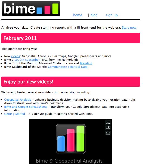 Bime newsletter